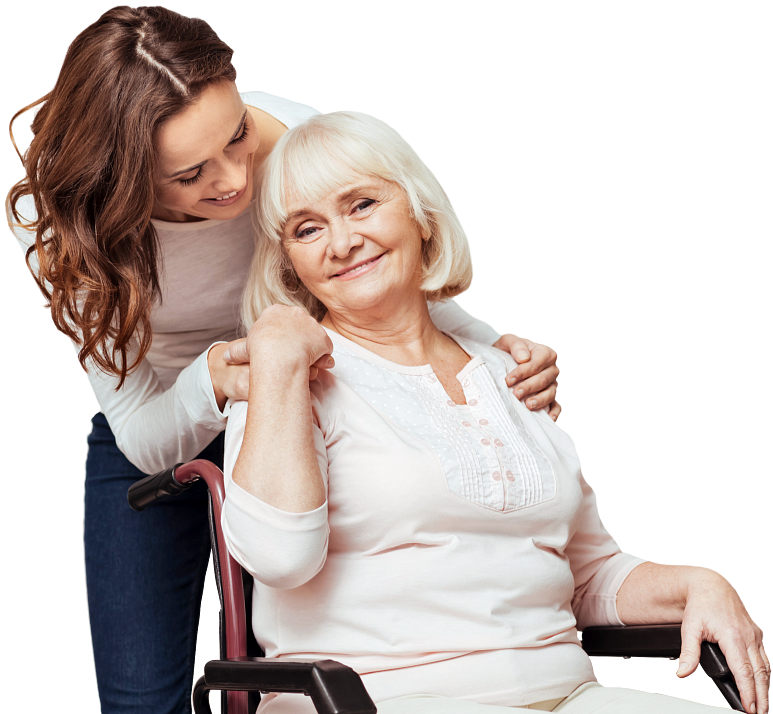caregiver hugging patient from the back
